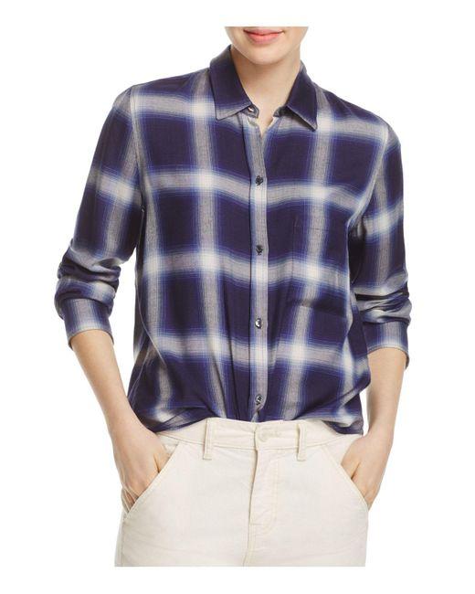 Vince   Blue Utility Plaid Shirt   Lyst