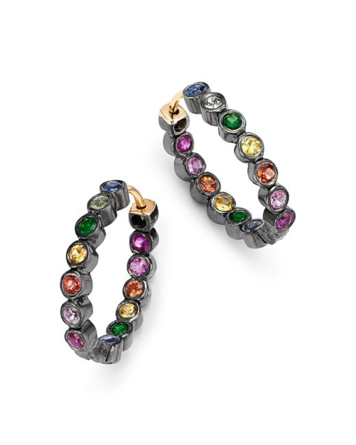 Shebee - Metallic Blackened Sterling Silver & Multicolor Sapphire Mini Oval Hoop Earrings - Lyst