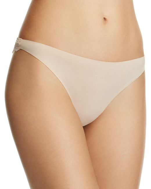 Stella McCartney - Natural Smooth & Lace Thong - Lyst