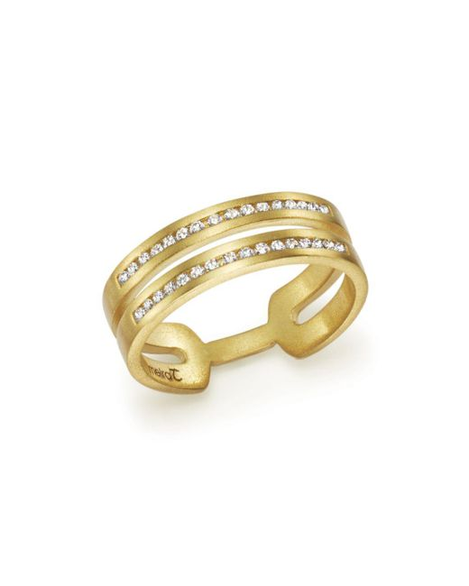 Meira T - Metallic 14k Yellow Gold Double Row Open Band Ring With Diamonds - Lyst