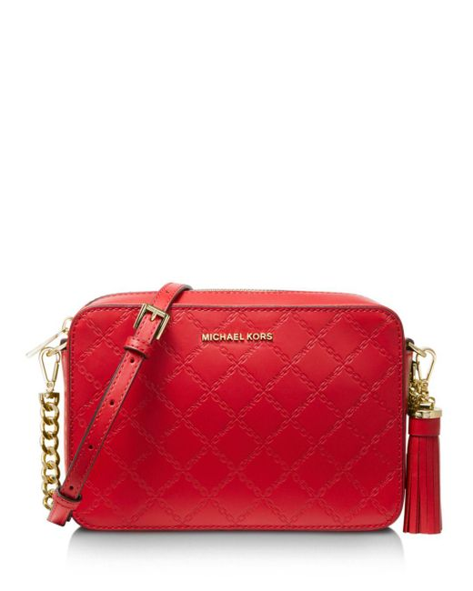 6675b2e6af0a MICHAEL Michael Kors - Red Medium Leather Crossbody Camera Bag - Lyst ...