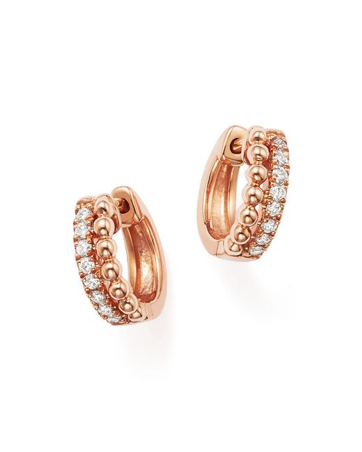 Dana Rebecca | Metallic 14k Rose Gold Beaded Diamond Huggie Hoop Earrings | Lyst