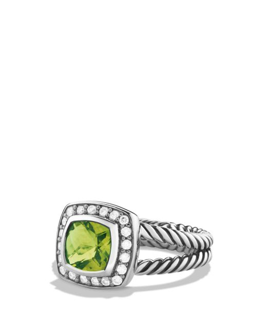 David Yurman - Metallic Petite Albion Ring With Peridot & Diamonds - Lyst