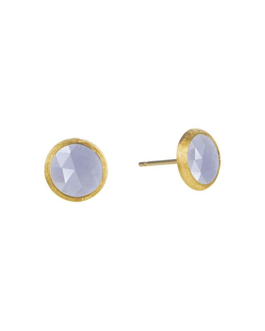 Marco Bicego - Metallic 18k Yellow Gold Engraved Jaipur Stud Earrings With Chalcedony - Lyst