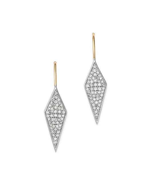 Adina Reyter - Metallic Sterling Silver & 14k Yellow Gold Long Pavé Diamond Earrings - Lyst