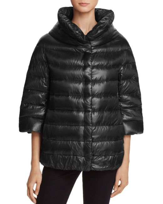 Herno - Black Funnel-neck Down Coat - Lyst
