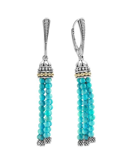 Lagos - Multicolor 18k Gold And Sterling Silver Caviar Icon Tassel Earrings With Turquoise - Lyst