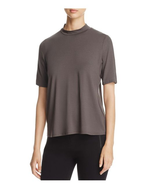 Eileen Fisher | Gray Mock-neck Short Sleeve Top | Lyst
