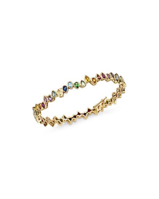 Shebee - Metallic 14k Yellow Gold Multicolor Sapphire Teardrop Bangle Bracelet - Lyst