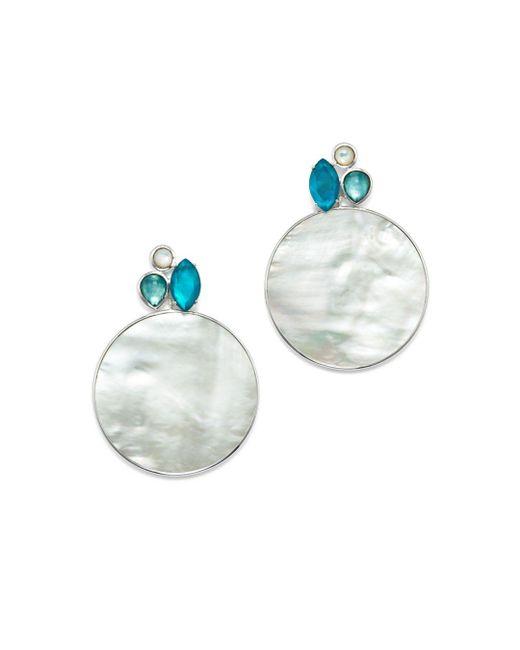 Ippolita - Metallic Sterling Silver Wonderland Mother - Of - Pearl & Clear Quartz Doublet Cluster & Round Drop Earrings In Bermuda - Lyst