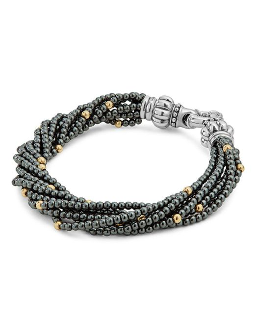 Lagos - Metallic 18k Gold And Sterling Silver Caviar Icon Hematite Beaded Multi Strand Bracelet - Lyst