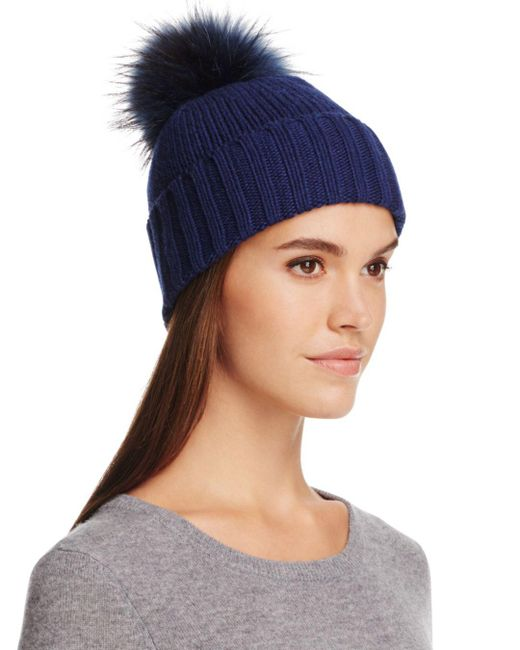 Inverni - Blue Foldover Knit Beanie With Asiatic Raccoon Fur Pom-pom - Lyst
