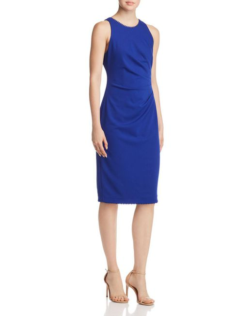 Adrianna Papell - Blue Draped Crepe Dress - Lyst