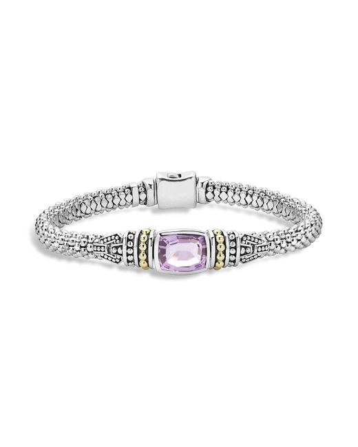 Lagos | Metallic 18k Gold And Sterling Silver Caviar Color Bracelet With Rose De France Amethyst | Lyst