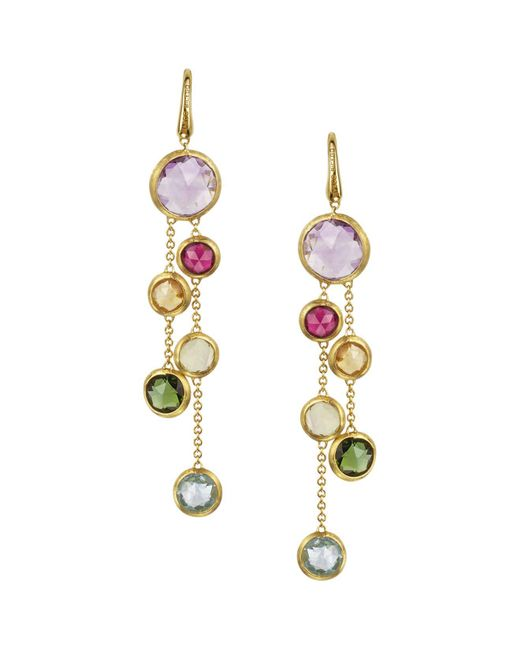 Marco Bicego - Metallic Jaipur 18k Yellow Gold And Multi-stone Double Drop Earrings - Lyst