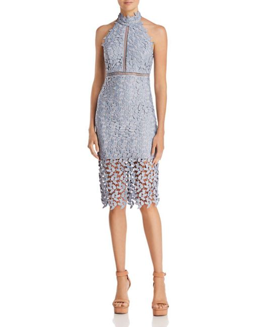 Bardot - Blue Gemma Lace Halter Dress - Lyst