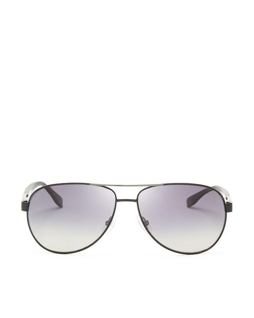 HUGO - Gray Hugo Polarized Metal Aviator Sunglasses for Men - Lyst