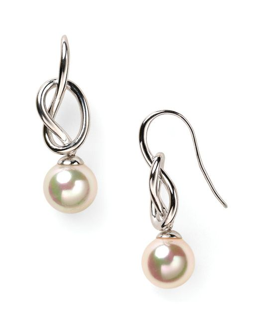 Majorica - White Knot & Simulated Pearl Drop Earrings - Lyst