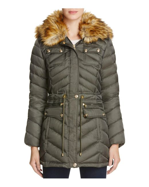 Laundry by Shelli Segal | Green Faux Fur Trim Anorak | Lyst