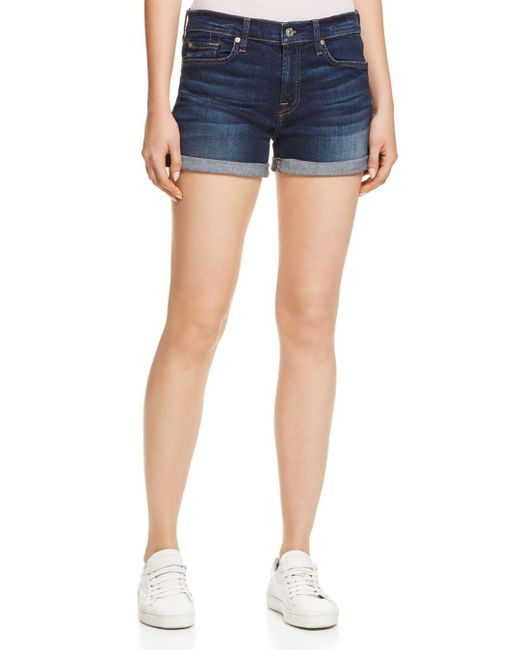 7 For All Mankind - Blue Roll Cuff Denim Shorts In Midnight Rain - Lyst