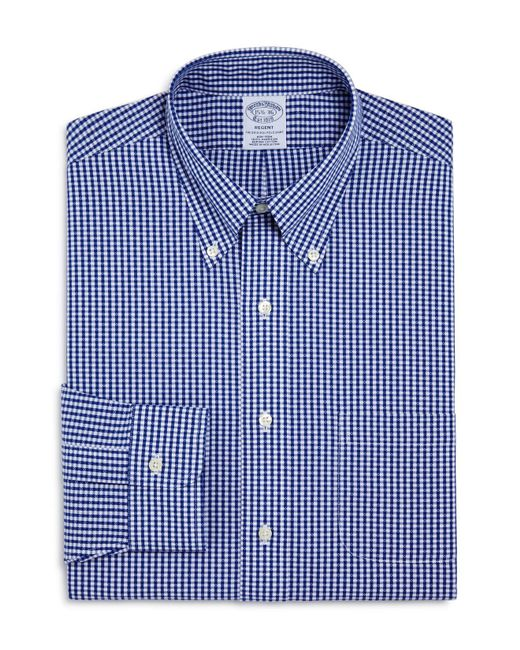 Brooks Brothers - Blue Dobby Gingham Classic Fit Dress Shirt for Men - Lyst