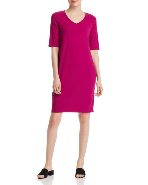 Eileen Fisher - Pink V-neck Shift Dress - Lyst