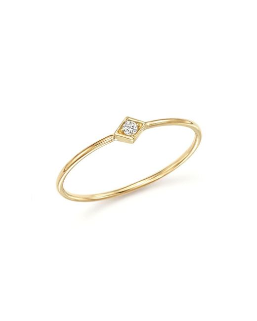 Zoe Chicco - Metallic 14k Yellow Gold And Diamond Bezel Thin Ring - Lyst