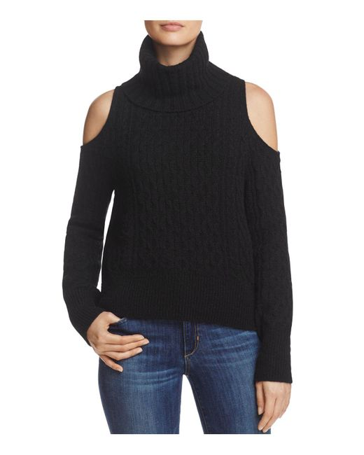 Theory | Black Cold-shoulder Cabled Turtleneck Sweater | Lyst