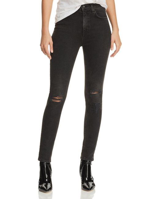 Rag & Bone - Black High-rise Distressed Ankle Skinny Jeans In Rock With Holes - Lyst