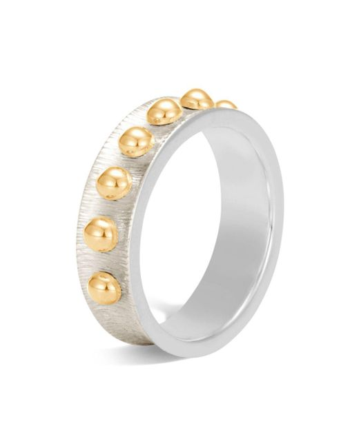 John Hardy - Metallic 18k Yellow Gold And Sterling Silver Dot Band Ring - Lyst