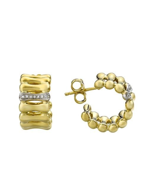 Chimento | Metallic 18k Yellow & White Gold Bamboo Over Collection Hoop Earrings With Diamonds | Lyst