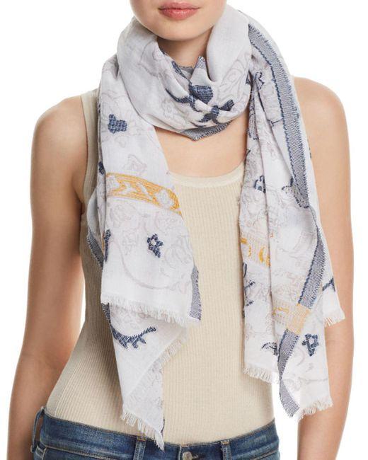 Fraas - Blue Floral Scroll Oblong Scarf - Lyst