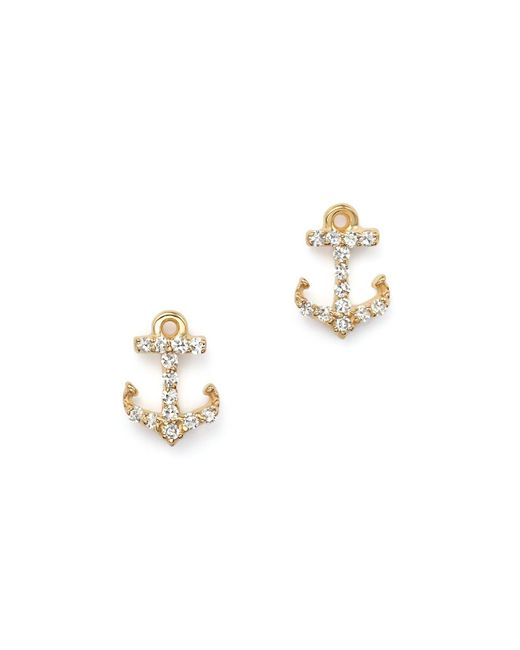 KC Designs - Metallic Diamond Anchor Earrings In 14k Yellow Gold - Lyst