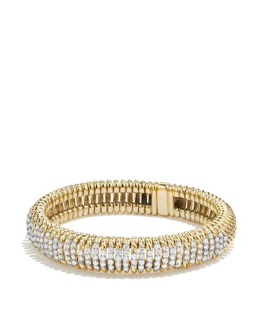 David Yurman - Metallic Tempo Bracelet With Diamonds In 18k Gold - Lyst