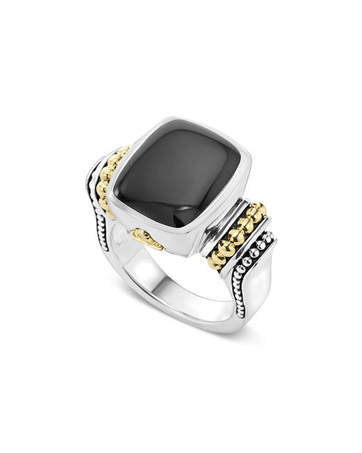Lagos - Metallic 18k Gold And Sterling Silver Medium Onyx Ring - Lyst