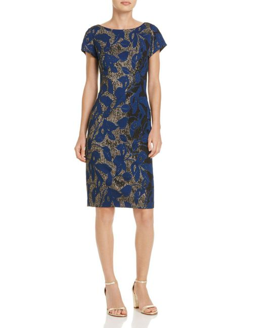 Adrianna Papell - Blue Metallic Jacquard Sheath Dress - Lyst