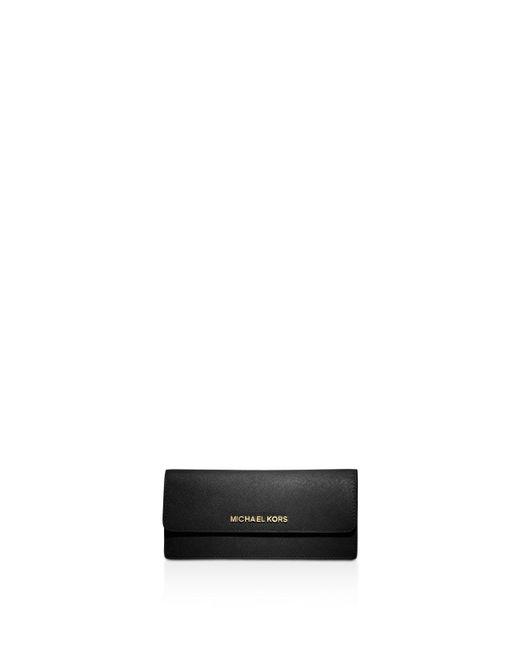 MICHAEL Michael Kors | Black Leather Flat Wallet | Lyst