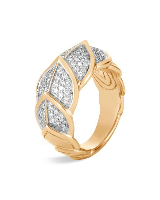 John Hardy - Metallic 18k Yellow Gold Legends Naga Pavé Diamond Small Ring - Lyst