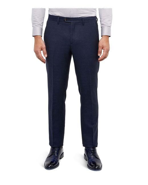 Ted Baker | Blue Semi Plain Regular Fit Trousers for Men | Lyst