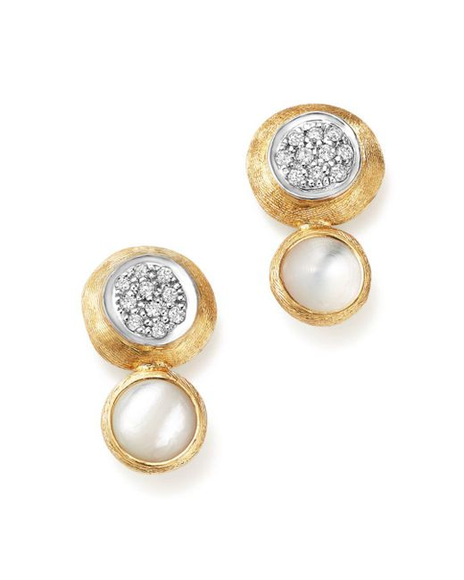 Marco Bicego - 18k White And Yellow Gold Jaipur Climber Stud Earrings With Mother-of-pearl And Diamonds - Lyst