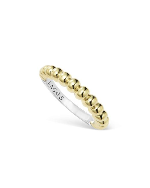 Lagos - Metallic Sterling Silver And 18k Gold Fluted Stacking Ring - Lyst