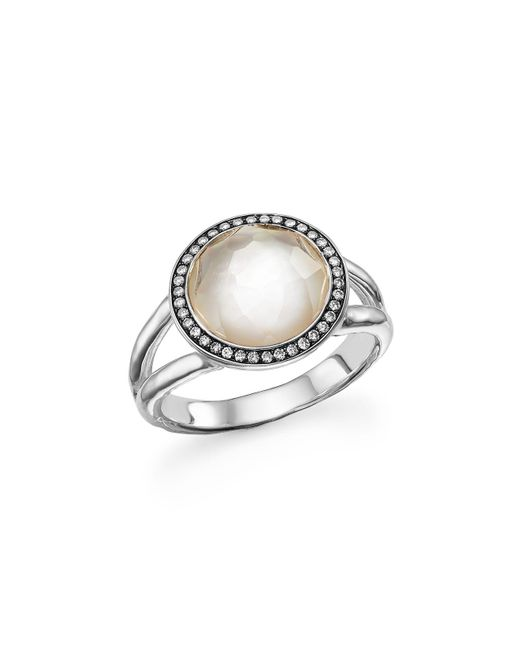 Ippolita | Metallic Sterling Silver Stella Ring In Mother-of-pearl With Diamonds | Lyst