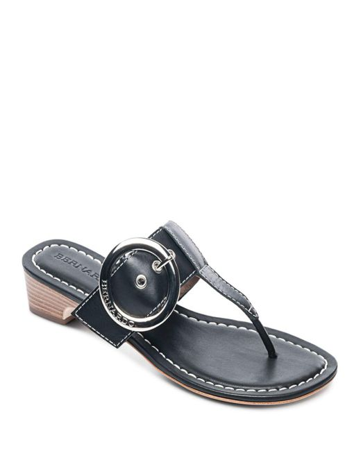 Bernardo - Black Women's Leather Buckle Block Heel Thong Sandals - Lyst