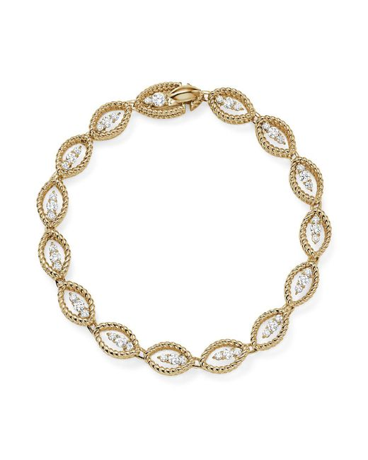 Roberto Coin | Metallic 18k White And Yellow Gold New Barocco Diamond Bracelet | Lyst