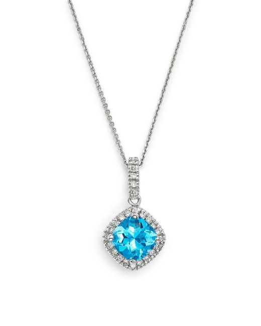 """Bloomingdale's - Blue Topaz Cushion Cut And Diamond Pendant Necklace In 14k White Gold, 16"""" - Lyst"""