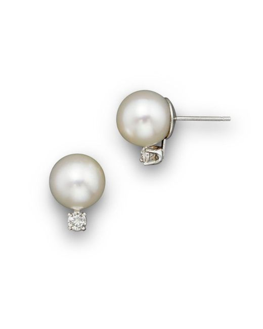 Bloomingdale's - Cultured Akoya Pearl Stud Earrings With Diamonds In 14k White Gold - Lyst