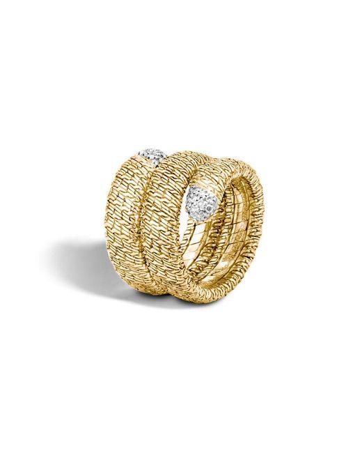 John Hardy | Metallic Classic Chain 18k Gold Diamond Pavé Double Coil Ring | Lyst