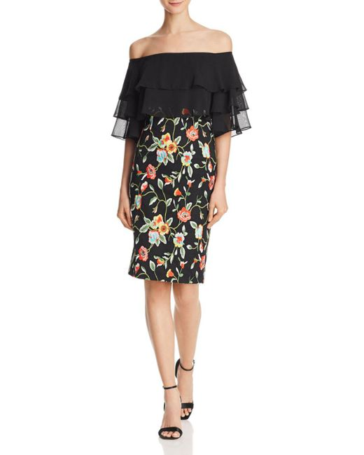Aidan By Aidan Mattox - Black Off-the-shoulder Embroidered Dress - Lyst
