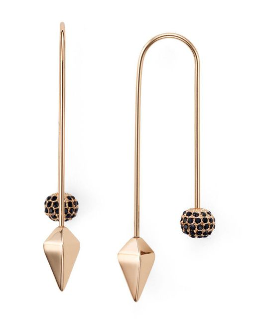 Rebecca Minkoff - Multicolor Pavé Ball Threader Earrings - Lyst