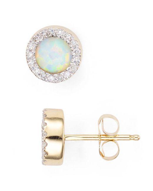 Adina Reyter - Metallic Opal & Diamond Disc Stud Earrings - Lyst